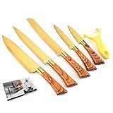 Ergonomia Metti il coltello 6pcs Coltello da cucina Set di verdure Peeler Chef coltello da intaglio di sbucciatura della lama Grana del legno manico del coltello da cucina Strumenti Set Damasco