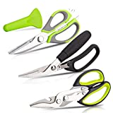 KOTTO 3 Pack Kitchen Scissors SET - Heavy Duty Kitchen Shears - for Chicken, Poultry, Fish and Food Cutting - Rustproof Stainless Steel - Dishwasher Safe - Black and Green