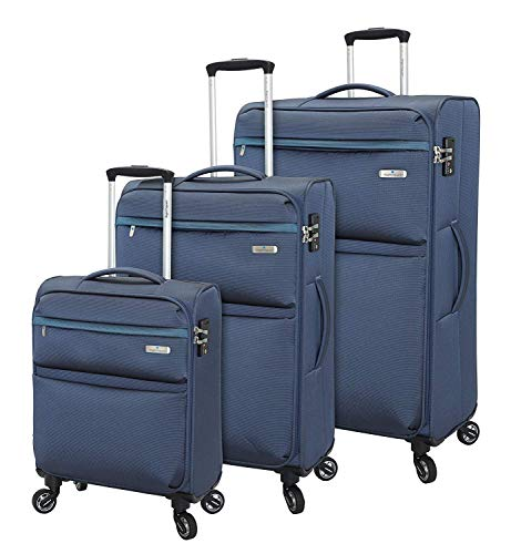 Regent Square Travel - Luggage Set with Spinner Goodyear Wheels - Built-in TSA Lock - Set of 3 Pieces - Soft Case -Night Blue