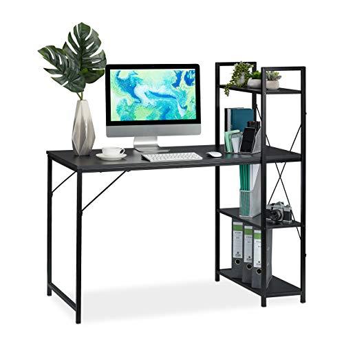 Relaxdays Schreibtisch, Kombination mit Regal, 4 Ablagefächer, für Jugendzimmer & Büro, HBT: 121 x 120 x 62 cm, schwarz, PB, Metall