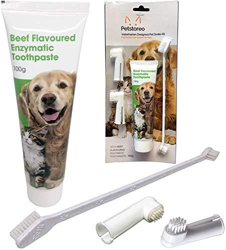 Petstoreo Zahnpflegeset für Hunde & Katzen - Von Tierärzten entwickelt - Enzymatische Zahnpasta & 3 Zahnbürsten Hund & Katze - Zahnpflege Hunde - Gegen Zahnstein