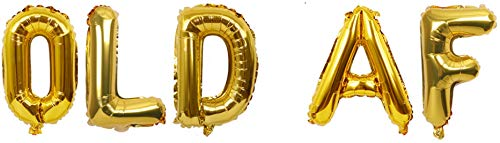 Old AF Letter Balloons for Adult Funny Birthday Party Decorations - Gold