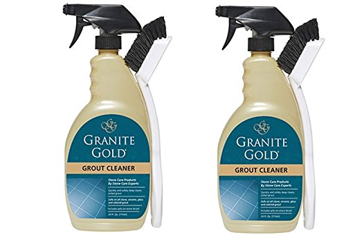Granite Gold Grout Cleaner And Scrub Brush - Acid-Free Tile And Grout Cleaning For Dirt, Mildew, Mold - 24 Ounces (2 pack)