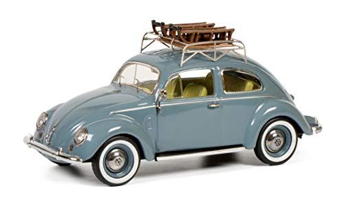Schuco 450270900 VW Käfer, Brezelkäfer mit 2 Schlitten, 1:43, blau, Limitierte Auflage