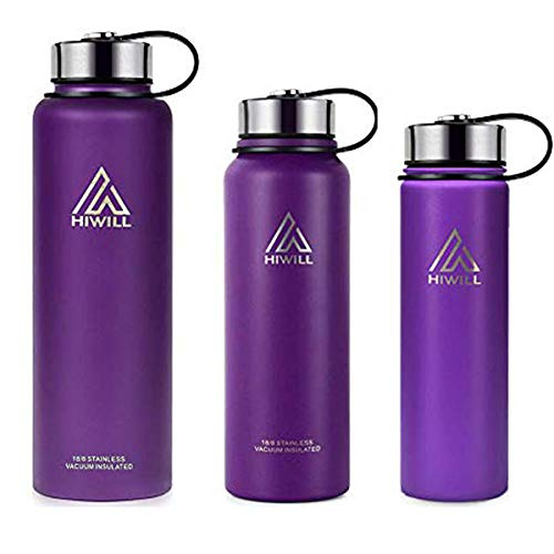 Hiwill Stainless Steel Insulated Water Bottle 2 Lids, Cold 24 Hrs Hot 12 Hrs, Double Wall Vacuum Thermos Flask, Travel Sports Leak Proof Bottle, BPA Free (Lilac, 27 oz)