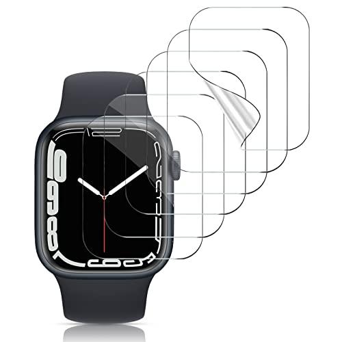 VASG [8 Stück] Schutzfolie Kompatibel mit Apple Watch Series 7 45mm / Series 6/5/4/SE 44mm und Series 3/2/1 42mm Klar HD Weich TPU Folie Nicht Glas Blasenfreie Displayschutz