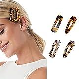 Runmi Pinzas para el pelo con diseño francés de leopardo, horquillas para el pelo con forma de tortuga (4 unidades)