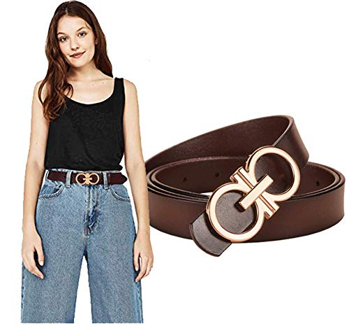 Longwu 100% Italian Genuine Cowhide Leather Jeans Belt,with Double O-Ring Buckle,Packed in a Gift Box Coffee-2.8cm-105cm