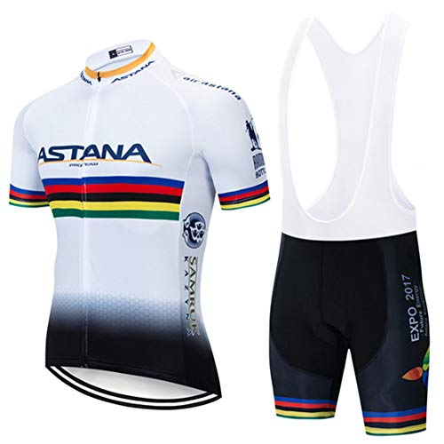 FJLR wielersportshirt, korte mouwen, heren, fietskleding, sportjersey + fietsbroek met 9D gelbekleding, C, 5XL