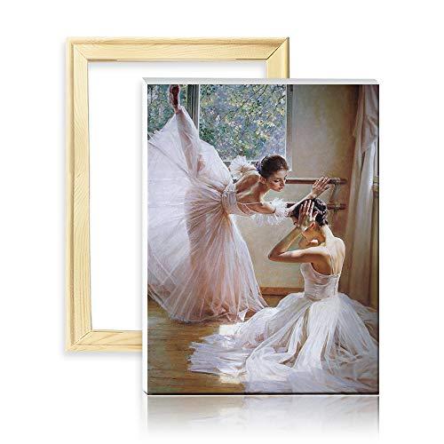 ufengke Kit Pintura de Diamantes 5D Ballet Bailarines Punto de Cruz Diamante Completo DIY para Amantes del Arte, con Marco de Madera, Diseño 25x35cm