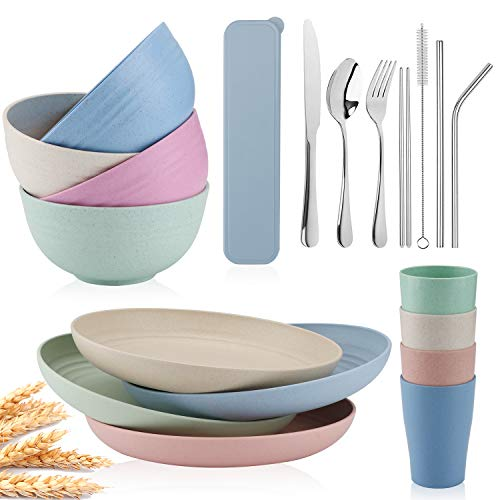 Wheat Straw Dinnerware Sets -Travel Camping Cutlery Set,Set-Reusable, Eco Friendly,Wheat Straw Plates,Wheat Straw cup, Cereal Bowls