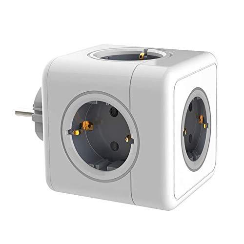 16A 250V EU-Stecker Steckdose Adapter Ladedockverlängerung Home Travel Cube Steckdosenleiste Adapter (5 AC, Grau)