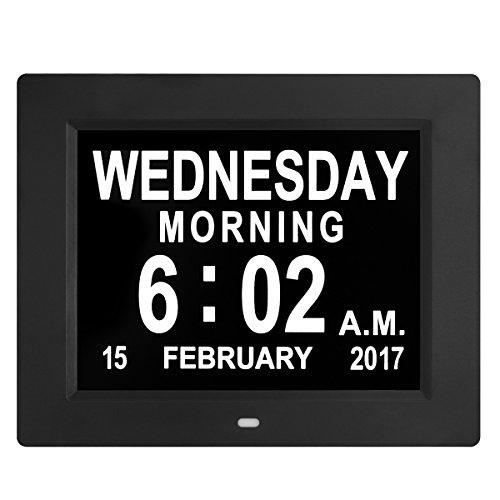 Digitale wandklok, wekker, grote LED-cijfers, extra grote klok met elektronische kalender en dagweergave, met snoer, zwart