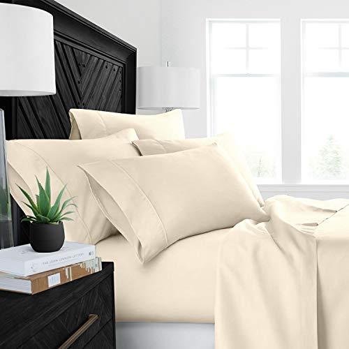 4PCs Sheet set 400 Thread count 100% Cotton Sheet Ivory Solid Queen Sheets Long Staple Cotton Fits Mattress Upto 15' Deep Pocket Soft Sateen Cotton Bedsheet and Pillowcase ,Luxury Bedding
