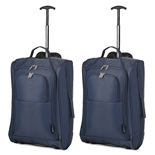 5 Cities Set of 2 Super Lightweight Cabin Approved Luggage Travel Wheely Suitcase Wheeled Bags Koffer-Set 55 centimeters 42 Blau (Navy Blue)