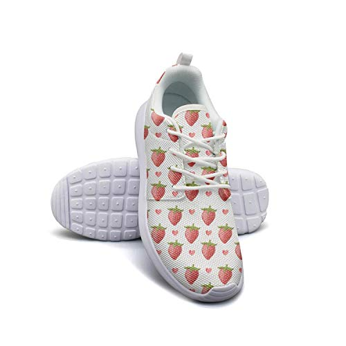 Hobart dfgrwe Strawberry Festival Watercolor Effect reb Woman's Flat Bottom Casual Shoes Sneakers gymCoach Basketball Shoes