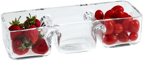 Badash Hostess Crystal Serving Dish - 3-Section Rectangle Glass Server for Fruit Candy Dips Snacks - Fine European Mouth-Blown Lead-Free Crystal