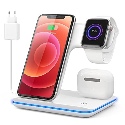 Cargador Inalámbrico Rápido, 3-in-1 Qi Wireless Fast Charger con Stación de Carga RápidaSoportes de Carga para Apple Watch 6/5/4/3/2 7,5 W pour iPhone 12 11 Pro MAX XS/XR/X/ 8 Plus SamsungAirPods