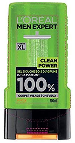 L'Oréal Men Expert Clean Power Douchegel voor heren, ultra-zuivere douchegel voor heren, 300 ml, 3 stuks