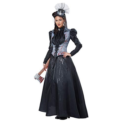 showsing-vrouwen kleding Dames Heks Halloween Kostuum, Womens Fancy Dress, Vintage Lange Mouw Kant tot Cosplay Kostuum Maxi Jurk