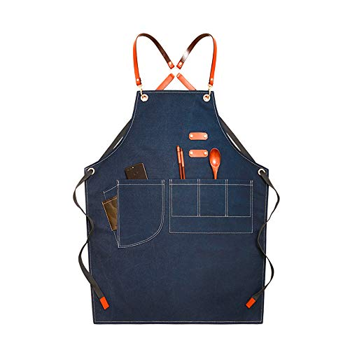 Schort Female Fashion Denim Canvas van de Mannen Milk Koffie- Manicure Barber Shop Werkkleding Waterproof Taille Baking Heren,Blue