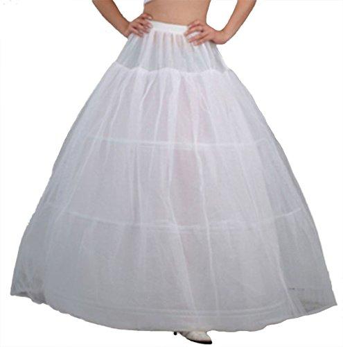 V.C.Formark 3 Hoops Petticoat Slip Bridal Gown White Underskirt for Girls and Petite