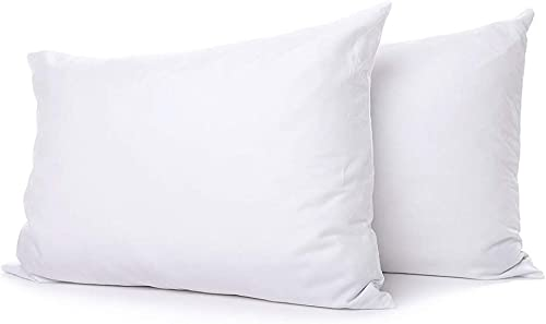 Extra Soft Down Filled Pillow for Stomach Sleepers w/Cotton Casing 2 Pack - Filled and Finished in The USA, Set of 2 Standard