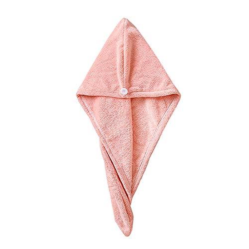 De alta densidad Coral Fleece Dry Hair Hat Secado rápido Toallitas de pelo Microfibra Toallas de pelo seco Rosa