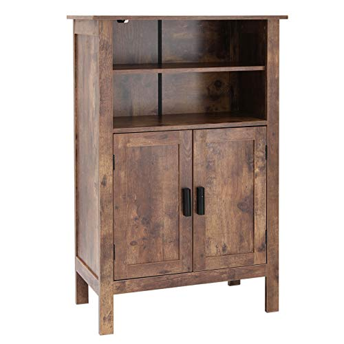USIKEY Retro Wooden Bookcase with Double Door, Storage Cabinet with Shelves, Bathroom Cabinet, Storage Rack Shelf for Books, for Living Room Office (Brown)