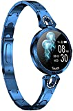 Women Smart Watch for Android iOS Phone Fitness Tracker Heart Rate Blood Pressure Waterproof Activity Tracker Pedometer Step Calories Counter Sleep Monitor Health Exercise Fashion Smartwatch (Blue)
