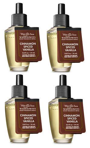 Bath and Body Works 4 Pack Cinnamon Spiced Vanilla Wallflowers Fragrance Refill. 0.8 fl oz.