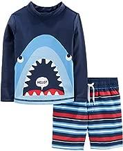 Simple Joys by Carter's Boys' Toddler 2-Piece Swimsuit Trunk and Rashguard, Blue Shark, 4T