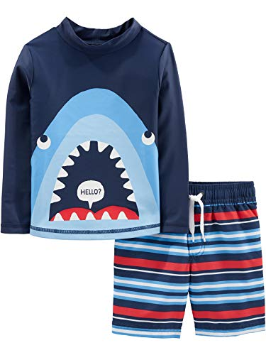 Simple Joys by Carter's Boys' Toddler 2-Piece Swimsuit Trunk and Rashguard, Blue Shark, 5T