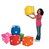 """JEVERGN 6Pcs Inflatable Dice, 12"""" Numeral Dice for Indoor and Outdoor Broad Games, Ludo and Pool Party - Free Floor Games"""