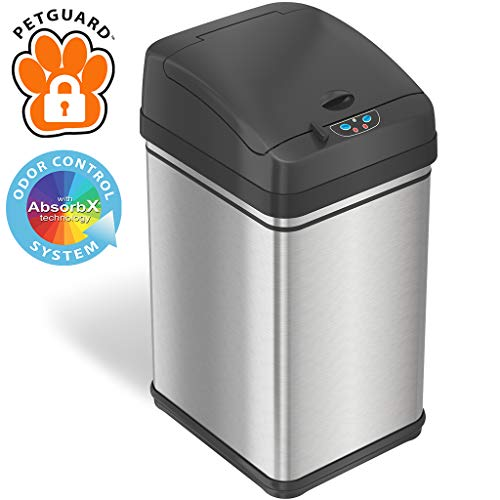 Best Bargain iTouchless 8 Gallon Pet-Proof Sensor Trash Can with AbsorbX Odor Filter System, Stainle...