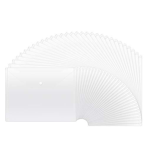 JIKIOU 30pcs Plastic Envelopes, Clear Reusable Poly Envelope Waterproof File Folder with Snap Button, US Letter/A4 Size