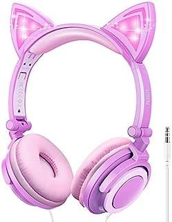 LOBKIN Kids Headphones,Unicorn Cat Ear Wired Foldable Headphones for Kids Over-Ear/On-Ear for Boys Girls, Adjustable 85dB ...