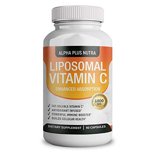 Liposomal Capsules Vitamin C 1800mg Pure Extra High Strength Formulation | 90 Capsules | Pure Vegan Liposomal Vitamin C | Immune Booster | USA Made