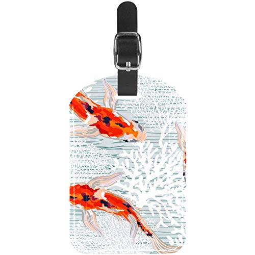 Luggage Tags Koi Carp Fish with Corals Leather Travel Suitcase Labels 1 Packs