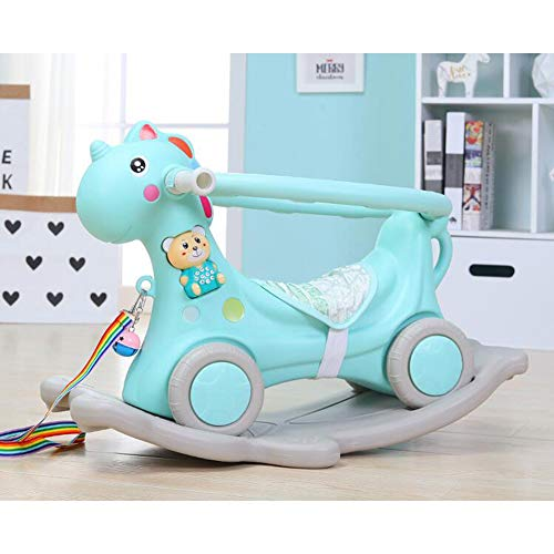 Fikujap Rocking Horse, Baby Riding Animal Blue/Pink,Ride on Toy for 1-3 Year Old, Girl Boy Rocking Animal Outdoor, Nursery/Infant/Child Christmas,Blue