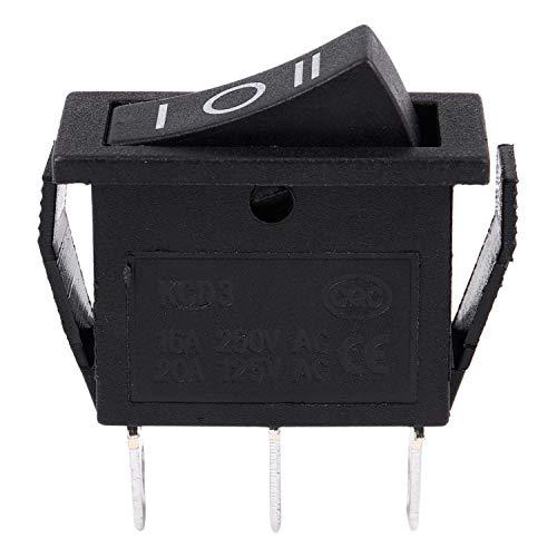 Kaxofang AC15A/250V 20A/125V 3 Pin SPDT ON-OFF-ON 3 posiciones Interruptor de balancin de resorte