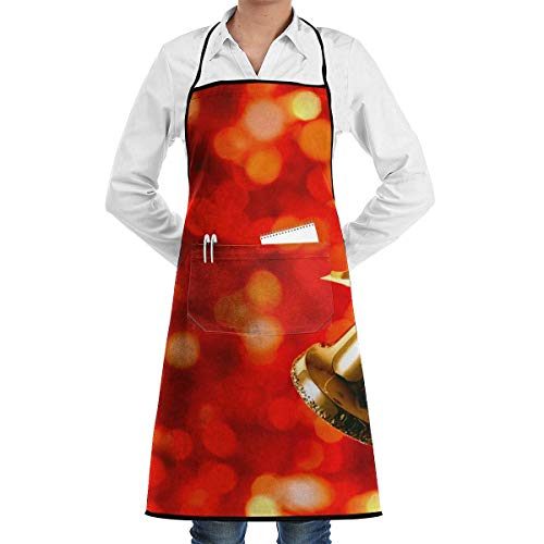 Drempad Unisex Schürzen, Christmas Season with Bell Faction Unisex Kitchen Cooking Garden Kitchen Cooking Chef Apron Adjustable Sewing Pocket Waterproof Chef Aprons