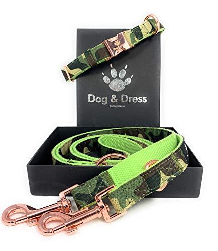 Dog & Dress by Nacy Kena Hundehalsband Und Leine Set, Camouflage, Rosegold, Verstellbar, Hundeleine 2m, 3 Ringe, Karabiner, Große Hunde + Kleine Hunde, Nylon, Geschenk Hund (S/M 31-40 cm)