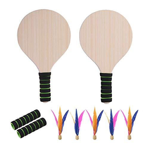 VORCOOL Beach Paddle Ball Game Set Beach Paddle Badminton Racket Juego de bádminton para Interiores y Exteriores Battledore para niños Adolescentes Outdoor Props (Color de Mango Aleatorio)