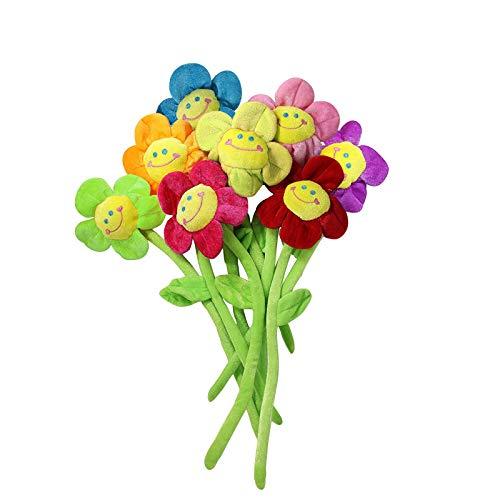 HANGNUO 8 piezas de flores de peluche con caras de salmón, juguete flexible de peluche, hebilla de cortina, como alzapaños, decoración de habitaciones, regalo de cumpleaños, boda