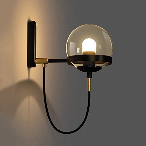 Applique Hall de l'hôtel concis rétro américain moderne restaurant cognac verre boule bronze cercle mur lampe A+