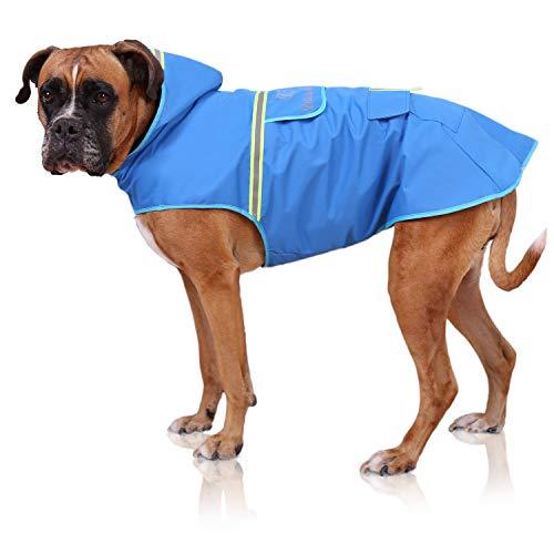Bella & Balu Hunderegenmantel – Wasserdichter Hundemantel mit Kapuze und Reflektoren für trockene, sichere Gassigänge, den Hundespielplatz und den Urlaub mit Hund (L | Blau)
