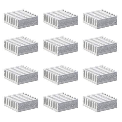 Scicalife 24Pcs Kit de Disipador de Calor con Cinta Adhesiva Conductora Térmica Disipador de Calor de Aluminio Enfriador para Raspberry CPU Pi Gpu Vga Vram Ram Vrm Chips IC Transistor Led