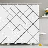 N/A Duschvorhang, 183 x 183 cm, Schlichtes minimales geometrisches Muster, minimalistisches Muster, abstrakt, diagonal, dünnes Gitter, grafisch, wasserdichtes Polyester-Gewebe mit Haken