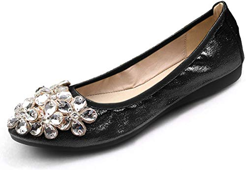 Lauthen.S Women Foldable Ballet Flats, Pointed Toe Wedding Rhinestone Slip on Flat Shoes(Black,11 US M)